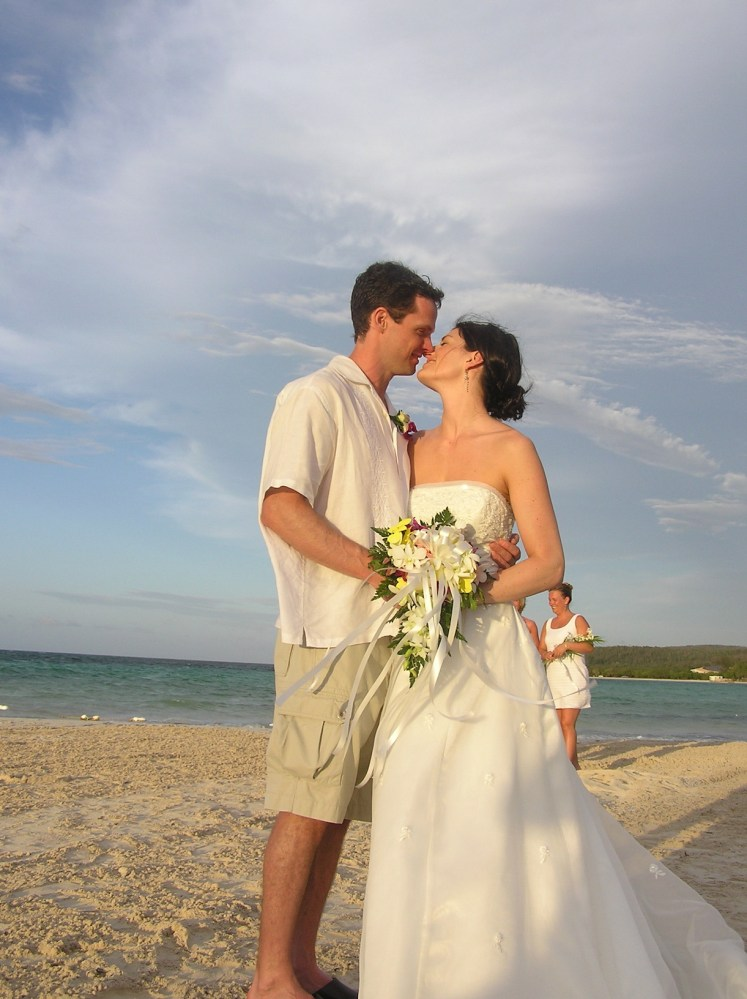 The beginning of our marriage, on the beach in Jamaica.